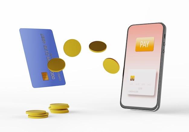 Trasferire denaro da una carta bancaria a uno smartphone. paga con il tuo smartphone. e-commerce, e-commerce, concetti di pagamento mobile. elementi grafici moderni. rendering 3d.