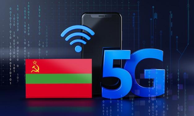 Transnistria pronta per il concetto di connessione 5g. sfondo di tecnologia smartphone rendering 3d