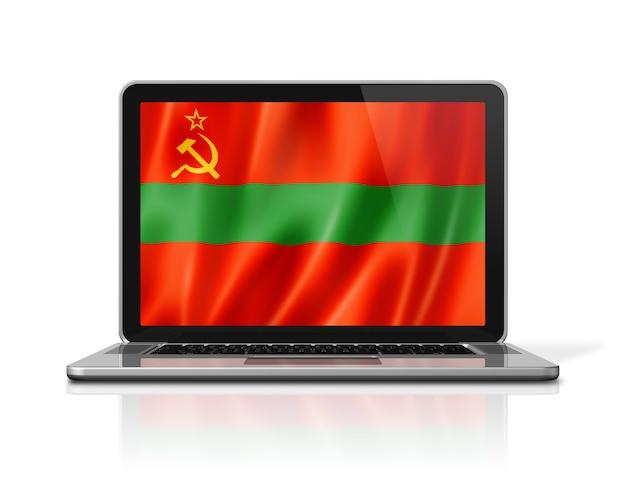 Bandiera dello stato della transnistria sullo schermo del computer portatile isolato su bianco. rendering di illustrazione 3d.