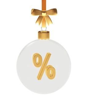 Palla di natale trasparente con un segno di percentuale