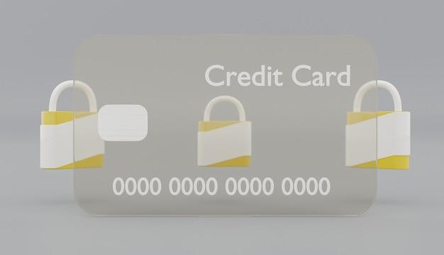 Carta di credito trasparente con lucchetti di sicurezza gialli dietro su sfondo grigio. rendering 3d