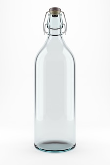 Bottiglia di vetro trasparente per acqua di latte o soda isolata