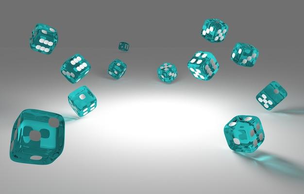 Dadi verdi trasparenti che galleggiano nell'aria e cadono su un pavimento bianco, illustrazione 3d