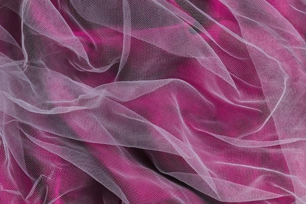Materiale in tessuto viola trasparente per interni