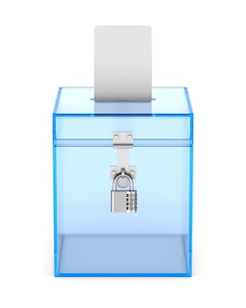 Box di voto trasparente. rendering 3d isolato