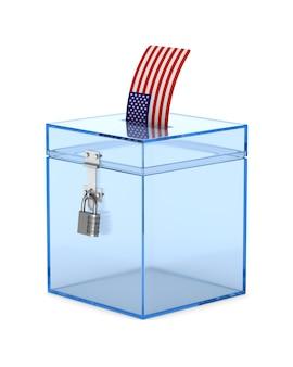 Casella di voto trasparente su bianco. illustrazione 3d isolata