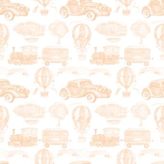 Trasporto auto treno rimorchio palloncino dirigibile illustrazione dell'acquerello senza soluzione di continuità disegnata a mano clipart bambino carino set grande nastro dell'albero macchina da scrivere vintage retrò per iscrizione immagini per la scuola materna