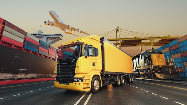 Trasporto e logistica di nave cargo container e aereo cargo. rendering 3d e illustrazione.