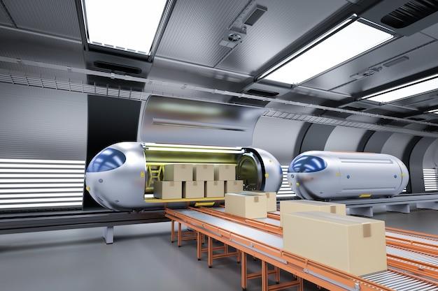 La tecnologia di trasporto con il treno di automazione ad alta velocità di rendering 3d trasporta scatole di cartone