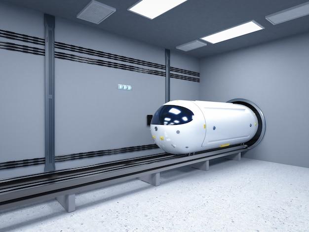 Tecnologia di trasporto con rendering 3d treno di automazione ad alta velocità nel tunnel