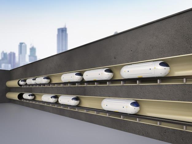 Tecnologia di trasporto con rendering 3d di treni di automazione ad alta velocità nei tunnel