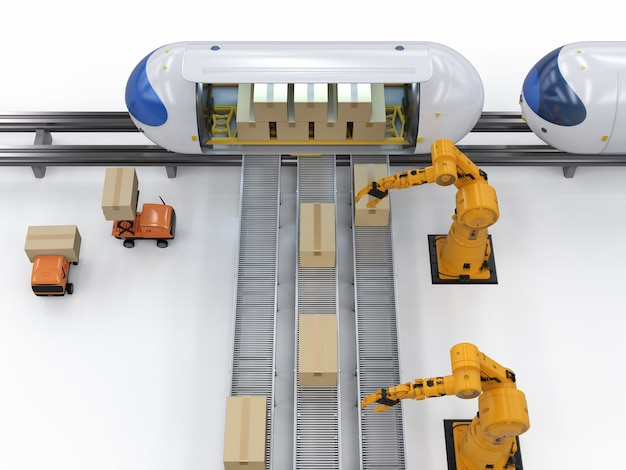 La tecnologia di trasporto con robot di rendering 3d trasporta scatole di cartone al treno di automazione