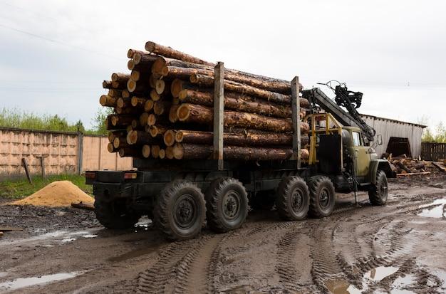 Trasporto di legna su un camion. carrello industriale per il trasporto di legname. risorse naturali rinnovabili. macchina del legname. esportazione di legname e concetto di spedizione. . foto di alta qualità