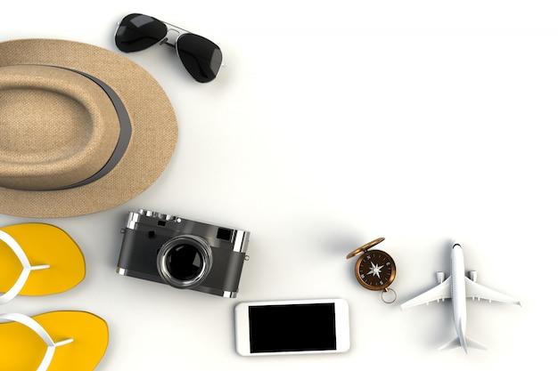Accessori da viaggio su bianco