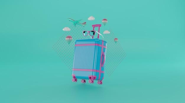 Accessori da viaggio con valigia.