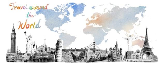 Viaggia in tutto il mondo e le attrazioni. monumenti famosi del mondo raggruppati insieme. acquerello dipinto a mano illustrazione, punto di riferimento in bianco e nero su sfondo colorato mappa del mondo, popolare