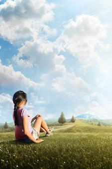 Il viaggio come stile di vita. una giovane viaggiatrice che si gode il paesaggio montano. viaggiatore turistico sul modello di vista di sfondo. turismo. avventura. escursione. sfondo.jpg