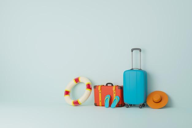 Borse da viaggio utilizzate nel turismo completo di pantofole, macchina fotografica, sedie e ombrelloni.