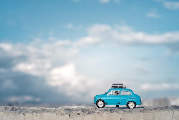 Viaggio in auto con bagagli sul tetto