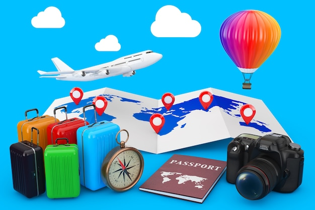 Concetto di viaggio. aereo con mongolfiera sulla mappa del mondo con perni di destinazione e valigie, bussola, passaporto e macchina fotografica su sfondo blu. rendering 3d.
