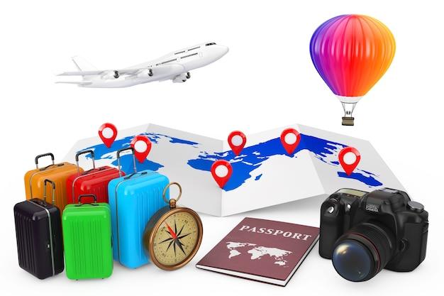 Concetto di viaggio. aereo con mongolfiera sulla mappa del mondo con perni di destinazione e valigie, bussola, passaporto e macchina fotografica su sfondo bianco. rendering 3d.