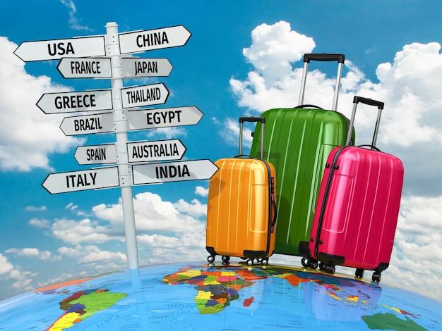 Concetto di viaggio. valigie e cartello con i paesi. 3d