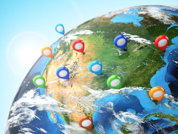 Concetto di destinazione di viaggio pin on earth navigazione negli stati uniti 3d