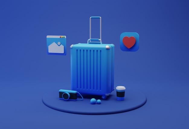 Illustrazione 3d di attrezzatura da viaggio