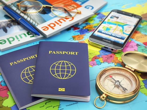 Concetto di guida di viaggio. passaporto, bussola, guide, telefono cellulare sulla mappa del mondo. 3d