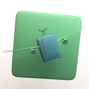 Icona di viaggio con la valigia con le ali isolate su priorità bassa bianca. app. illustrazione 3d.
