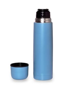 Thermos da viaggio per bevande calde su superficie bianca