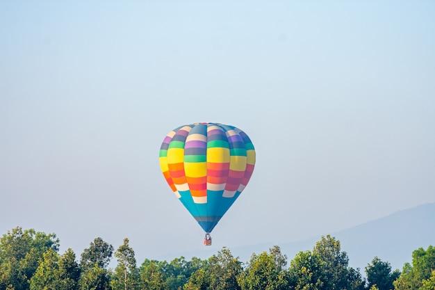 Viaggi e turismo. mongolfiera variopinta che vola in montagna, splendidi giardini fioriti osservati sul cestino.