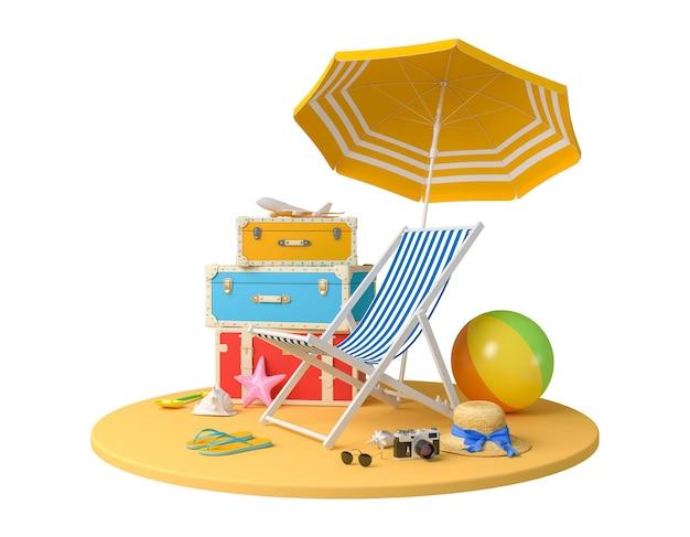 Accessori del viaggiatore, accessori di vacanza di vacanza estiva di viaggio della spiaggia su fondo bianco con il percorso di residuo della potatura meccanica, rappresentazione 3d