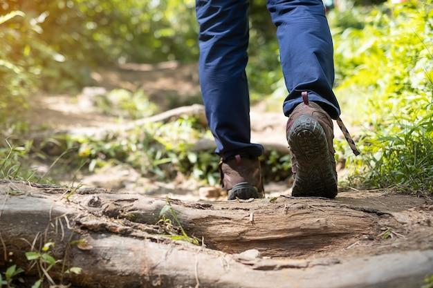 Viaggiatore in scarpe da trekking trekking su un sentiero nella foresta da vicino