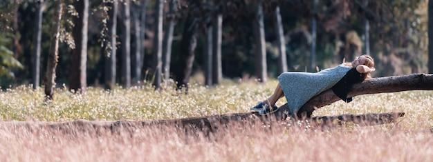 La giovane donna asiatica del viaggiatore che si trova sul collega il parco in tempo di vacanza