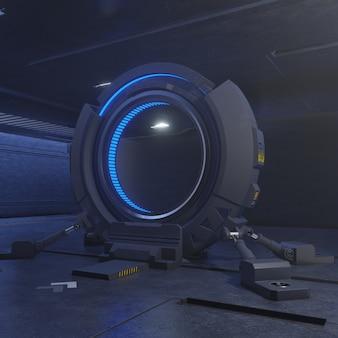 Viaggiando attraverso la porta del futuro con la velocità della luce, rendering 3d