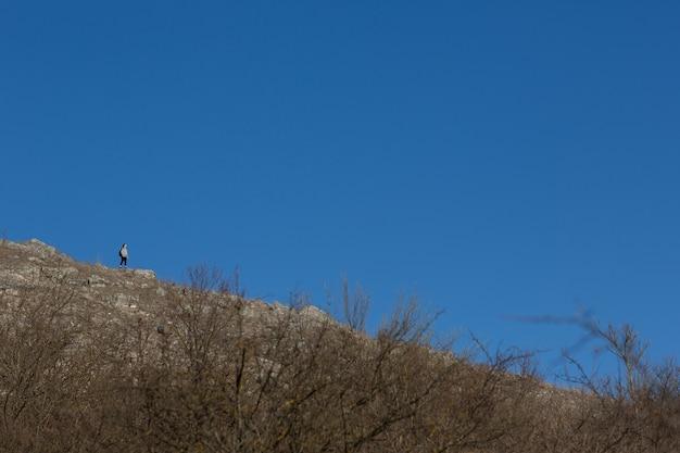 La donna in viaggio è in piedi sulla montagna rocciosa sul cielo blu vivido