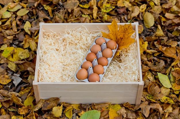 Vassoio di uova di gallina fresche in una scatola di legno su uno sfondo di fogliame autunnale.