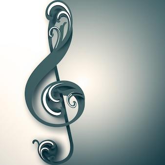 Chiave di violino con ornamento su sfondo chiaro