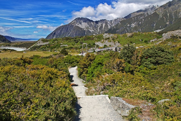 Trekking nella valle di hooker, in nuova zelanda