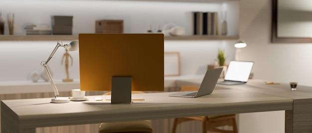 Stile interno alla moda e moderno dell'ufficio domestico con il computer moderno e il rendering 3d di due laptop