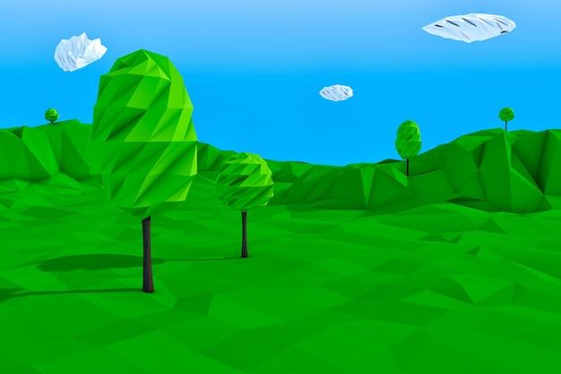 Primo piano estremo del paesaggio di stile di estate alla moda basso poligoni. rendering 3d