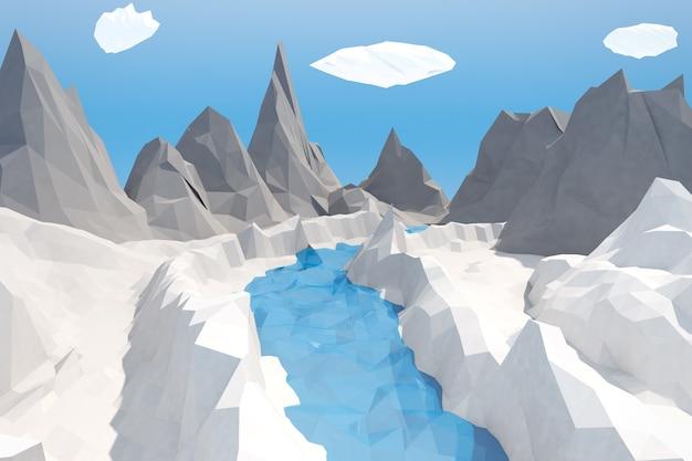 Primo piano estremo del paesaggio di stile alla moda di inverno basso poligoni. rendering 3d