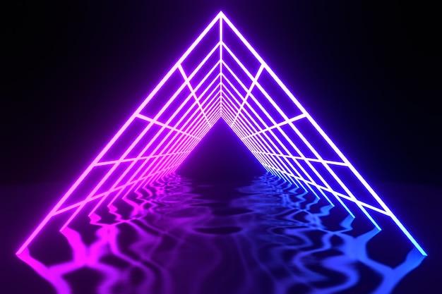 Triangolo arco viola blu elettrico laser neon futuristico virtuale con pavimento distorto a onde illustrazione di rendering 3d