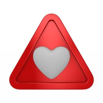 Triangolo con cuore. rendering 3d isolato