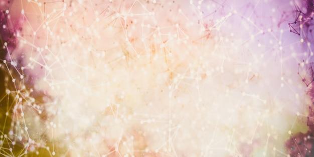 Triangoli, punti e linee si connettono con lucentezza su sfondo sfocato. rallentatore e profondità di campo ridotta