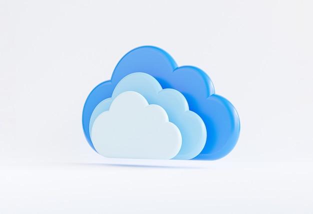 Tripla di cloud computing su sfondo bianco per trasferire informazioni sui dati e caricare l'applicazione di download. concetto di trasformazione della tecnologia tramite rendering 3d.