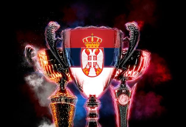 Tazza del trofeo strutturata con la bandiera della serbia. illustrazione digitale 2d.
