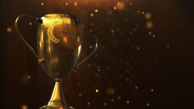 Trofeo gold award nell'illustrazione 3d