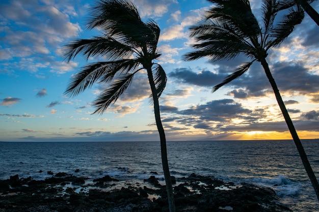 Scena della spiaggia tropicale. vista mare dalla spiaggia estiva con cielo. paesaggio costiero.